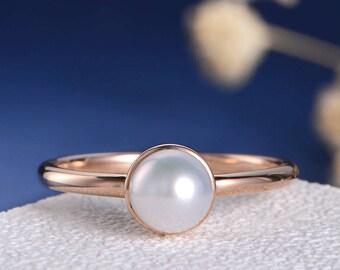 Bezel Set Engagement Ring Pearl Rose Gold Wedding Ring Solitaire Akoya minimalist Ring Women Engraving Anniversary Promise Graduation Gift