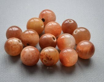 Beads handcrafted type A jadeite jade, natural, not dyed, untreated, 14 mm, honey-colored, Tan, Brown, 4 pcs