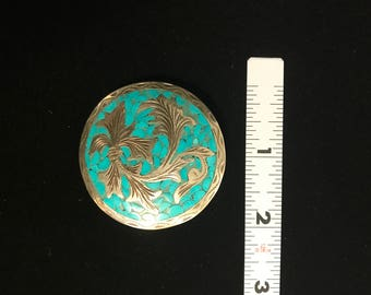 Turquoise Sterling Brooch