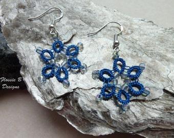 Blue metallic tatted flower earrings, delicate lace earrings, light earrings, boho earrings, birthday gift, flower jewellery