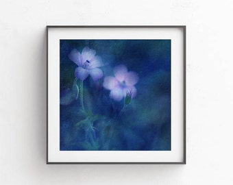 Indigo wall print, Floral art, indigo wall art, digital photography, Flowers print, PRINTABLE art, navy blue wall decor, commercial use