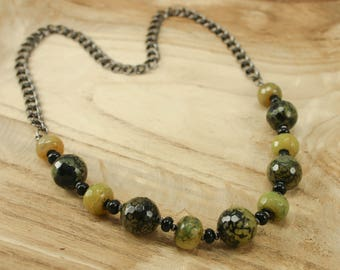 "Green Fire Crackle Agate and Black Agate 26"" Gemstone Necklace - Gunmetal Chain - Bohemian Gemstone Necklace, Sundance Style Jewelry"