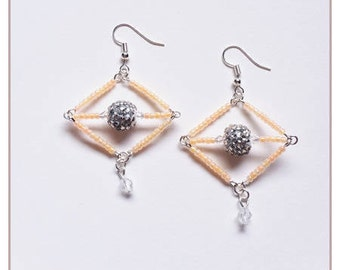 "Earrings ""Collection rhinestone"" light peach"