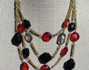 Vintage 4 Strand Gold Tone Chain Bead Necklace