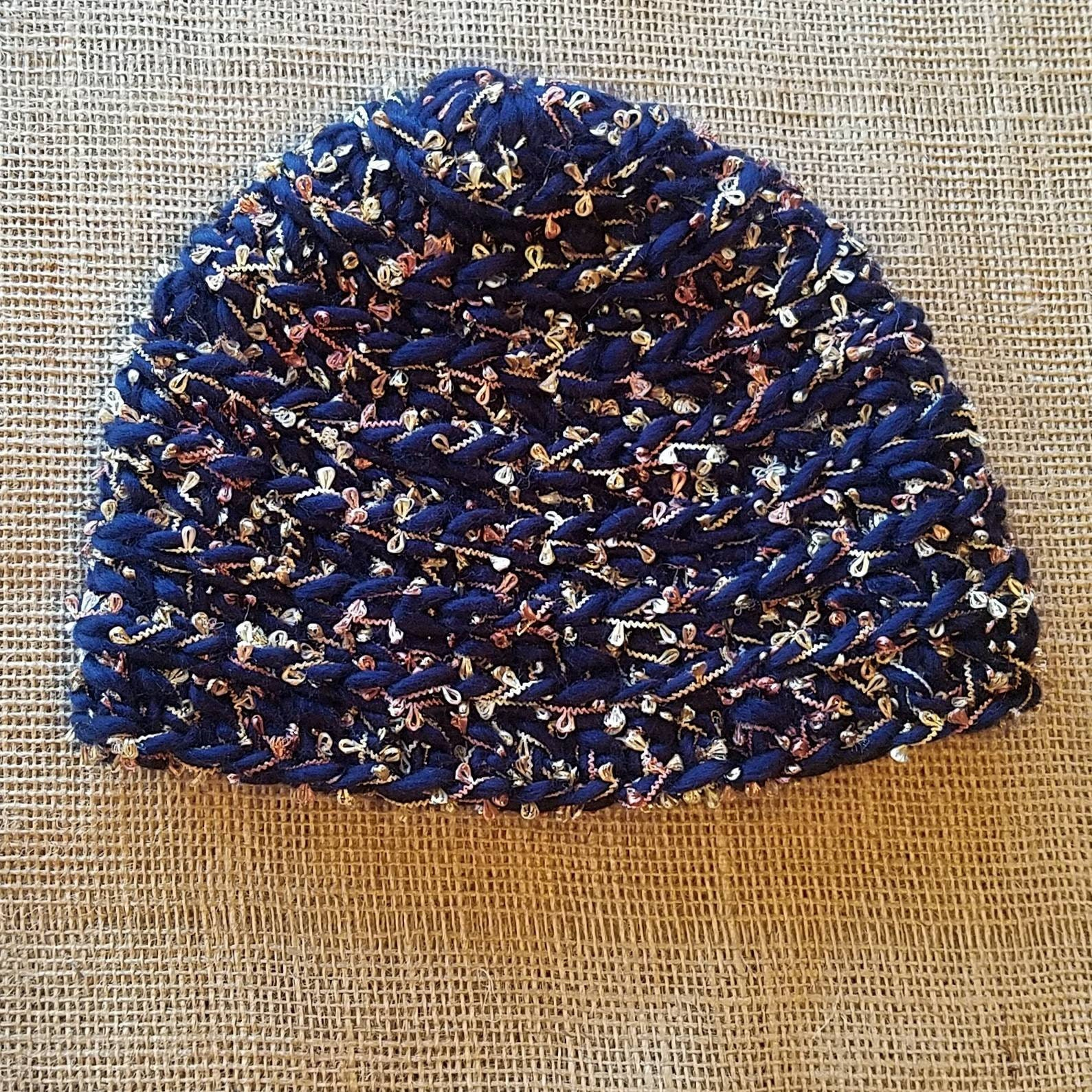 b1083a05e24 Crochet navy blue beanie with fancy metalic thread perfect for a teen or  adult. Slouchy