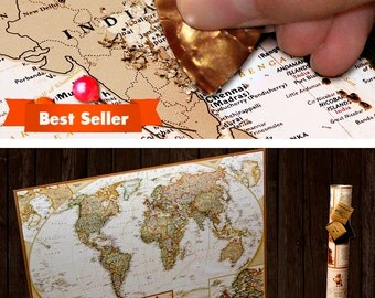 1st Anniversary Gift First Anniversary Gift for Him Paper Anniversary 1st Anniversary gift idea - Pushpin Travel Scratch off Map, World Map