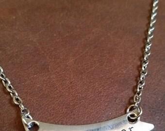 Metal Stamped F*ck Cancer Banner Necklace