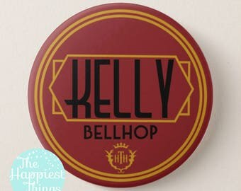 "Custom Tower of Terror Bellhop Nametag Button - 3"" Disney Buttons"