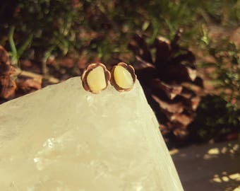EGGNOG - Golden Quartz Crystal Earrings, Golden Gemstone Studs, Dainty Naturalist Earring, Mother,Daughter,Sister,Friend, Gifts Under 20