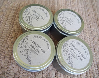 Four Fruity Soy Candles Handmade - Honeydew Melon - Peach - Apple - Strawberry - Hand Poured - Free Shipping - All Natural - Gift for Her