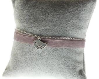 Silver bird Pink Ribbon Bracelet