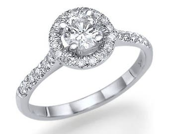 Round Cut Halo Diamond Ring 14k White Gold or Yellow Gold or Rose Gold Art Deco Diamond Engagement Ring Proposal Ring
