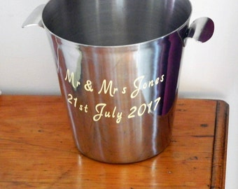 Champagne wedding, champagne bucket, French champagne, wedding Wine Cooler, wedding bottle, Ice bucket, personalised, hen party, engagement,