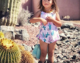 Cactus Baby Romper // Girls Romper // Spring Baby Clothes // Birthday Outfit // Toddler Romper // Boho Baby Toddler Clothes // Bubble Romper