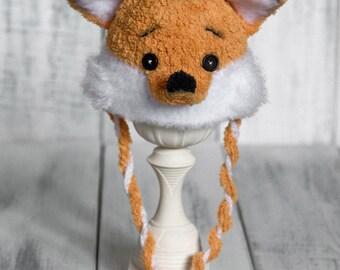Crochet newborn fox hat Baby fox hat Little orange fox hat Baby photo prop hat Crochet ear hat Crochet animal fox hat Newborn 0-3m