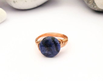 Blue Agate wire ring, Gemstone ring, Wire wrapped ring, Agate wire ring, Copper wire ring, Blue ring, Stone ring, Blue stone ring, Gift
