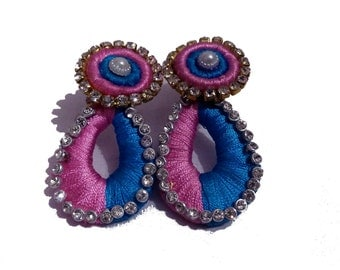 Handmade Premium Earrings - Stone and Silk Blue and Pink