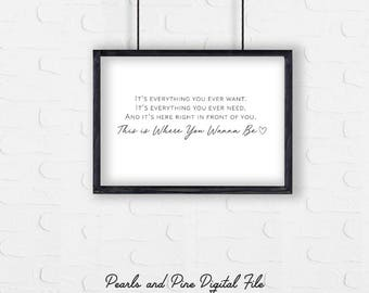 This Is Where You Wanna Be Download, Greatest Showman Wall Art, Minimal Wall Decor, Typography Printable Download, Greatest Show Lyrics