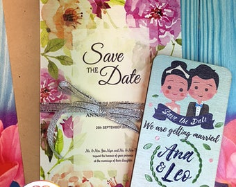 Save the date magnets, invitations, colorful, 3D,