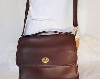 Coach 9870 Vintage BROWN Leather COURT BAG Crossbody Messenger