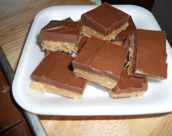Peanut Butter Chocolate Fudge/ 1/2 Pound/ Layered Fudge/  Creamy Fudge/ Edible Gift/ Holiday Fudge/Creamy Fudge, Party Treat, Easter Candy,