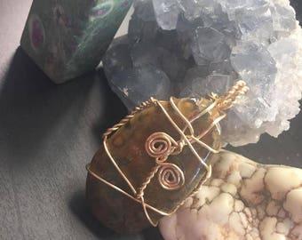LARGE Green Rhyolite (Rainforest Jasper) CRYSTAL Pendant Necklace || Golden Wire || Spiritual Crystals