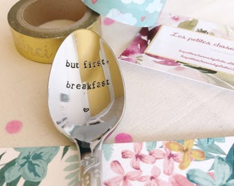 "Gift for a friend, MOM, girlfriend ""but first, breakfast""-engraved spoon"