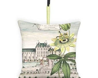 10x10 Inch - READY TO SHIP - Small Pillow with Insert - Abbey Passionflower Door Hanger Pillow Wall Hanger Decor - Gift Basket Pillow