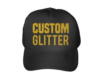 Custom Trucker Hat | Personalized Trucker Hat | Textured Glitter Cap | Bachelorette Party Hats | Bridal Party Hats
