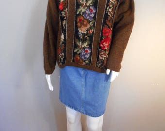 Brown, Black, Floral Wool Sweater Vintage Eddie Bauer Size medium large