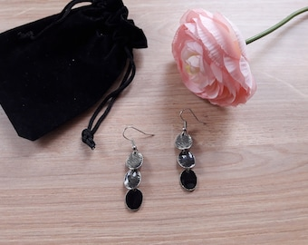 Shades of black earrings