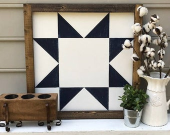 Large Hand-painted Wooden Barn Quilt Ohio Star Navy Blue and White Farmhouse Style