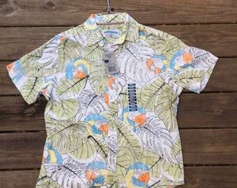 Margaritaville Hawaiian Shirt- Men's Small- Macaw Parrot- Tiki Shirt- Luau Shirt- Bartender Shirt- Tiki Bar- Parrot Head- Vintage Hawaiian