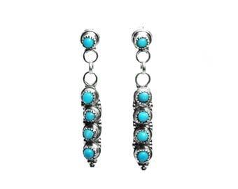 Turquoise Zuni Dot Earrings