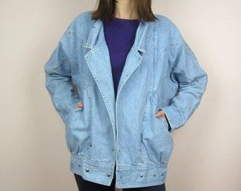 vintage 80s 90s blue denim jacket acid wash XL