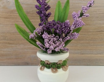 Miniature Potted Plant, Flower Arrangement, Plants and Flowers, Dollhouse Miniatures, White Pot, Purple Flowers, Greenery, Handmade