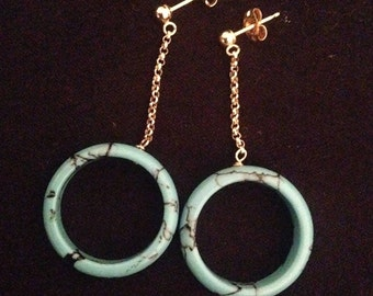 Vintage 14k Gold & Turquoise Dangle Hoop Earrings