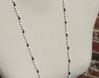 Howlite-Lapis-Copper Wrap Necklace - Genuine Gemstones & Pure Silk Thread