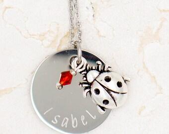 Ladybug Necklace, Personalized Ladybug Jewelry, Little Girl Necklace, Ladybug Jewelry, Ladybird Necklace, Ladybug Gift Birthday Party Favor