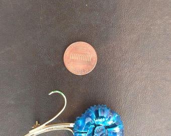 Blue Enamel Flower Pin/Brooch on Gold Tone Stem
