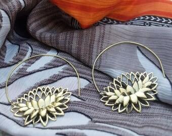 Spiral Lotus Earrings. Spiritual Earrings.