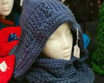 Steal Blue Knitted Hood