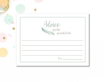 Boho advice for new parents cards printables, feather baby shower advice cards, baby boy advice for parents, advice for new mum, mom  BaS03
