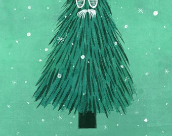 "Christmas Holiday Card, ""Have a Chill Christmas,"" 5 by 7 inches, Hipster Christmas Tree, Craft, Illustration"