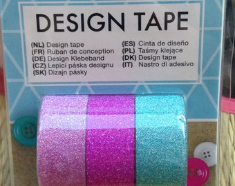 Set of 3 masking tape / washi tape / decorative tape glitter