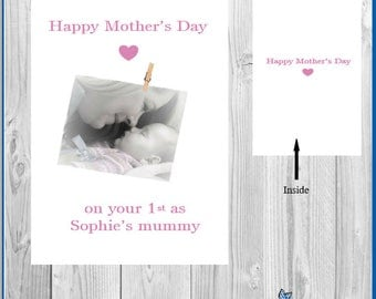 Personalised photo mother's day card mummy mum nan nanny grandma picture card with envelope