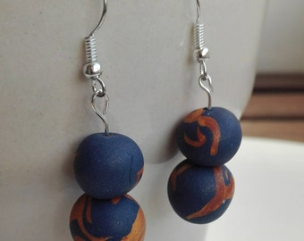 Beaded polymer clay earrings