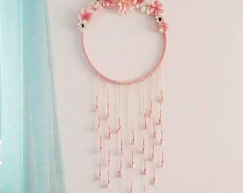 Home decor wall hanging,pink wall hanging,baby room decor,girl room,pink dream catcher,flowers,flower dream catcher,flower decor
