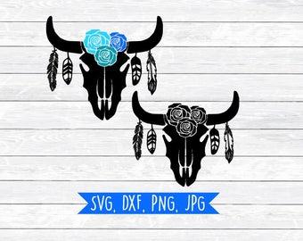 Boho Svg, Bohemian Svg, Cow Skull, Floral Antlers, Floral Horns, Svg, Dxf, Clipart, Feather Svg, Tribal Svg, Svg files for,Silhouette,Cricut