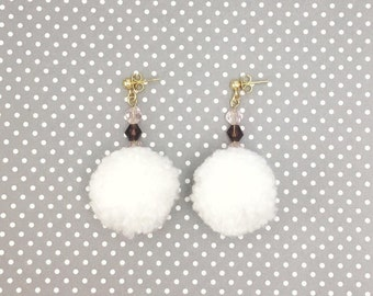 White Pom Pom Earrings, Earrings Beaded